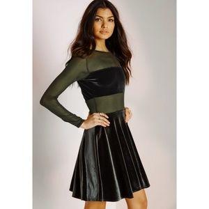 MISSGUIDED velvet and mesh skater dress